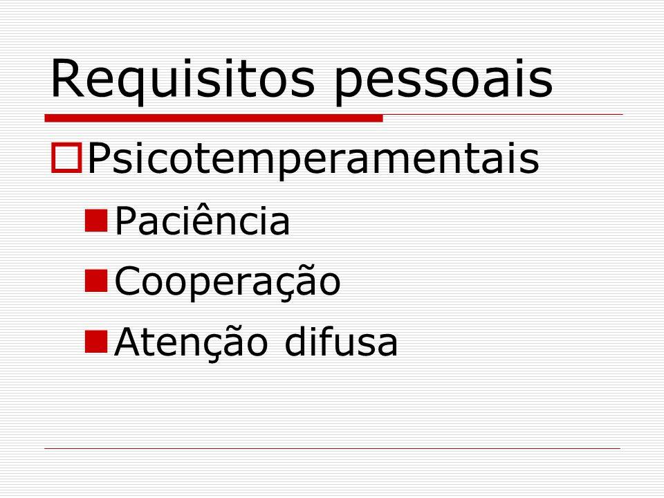 Requisitos pessoais Psicotemperamentais Paciência Cooperação