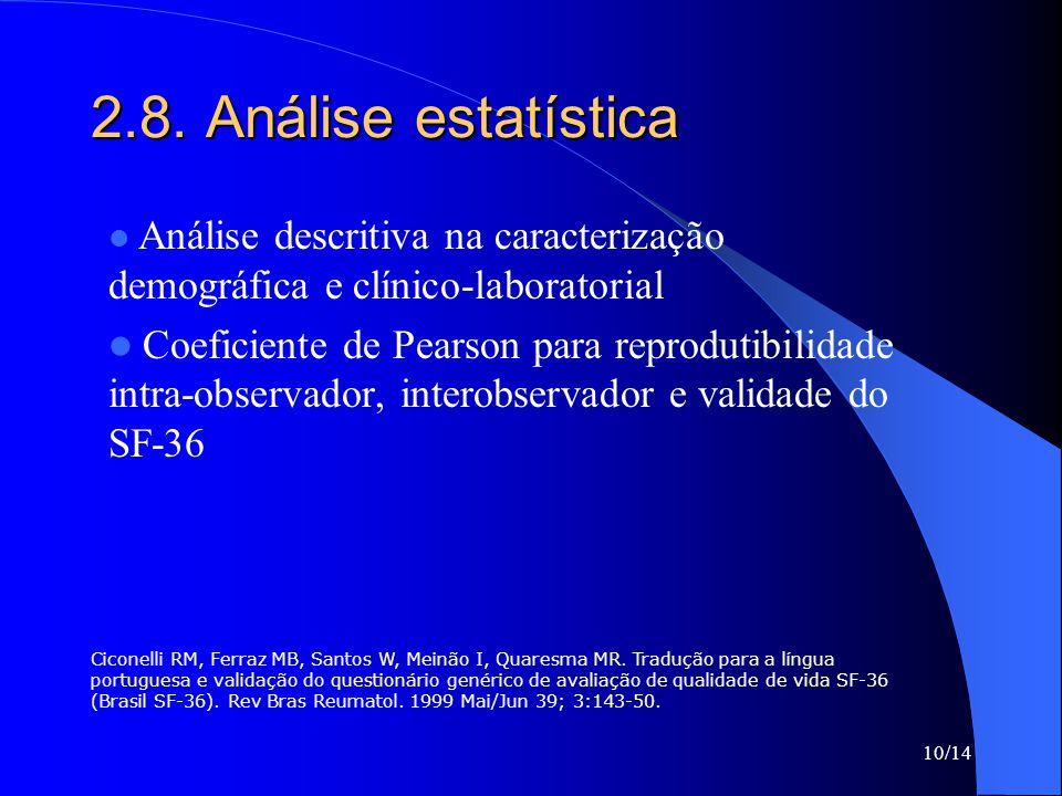2.8. Análise estatística Análise descritiva na caracterização demográfica e clínico-laboratorial.