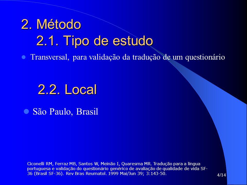2.2. Local 2. Método 2.1. Tipo de estudo São Paulo, Brasil