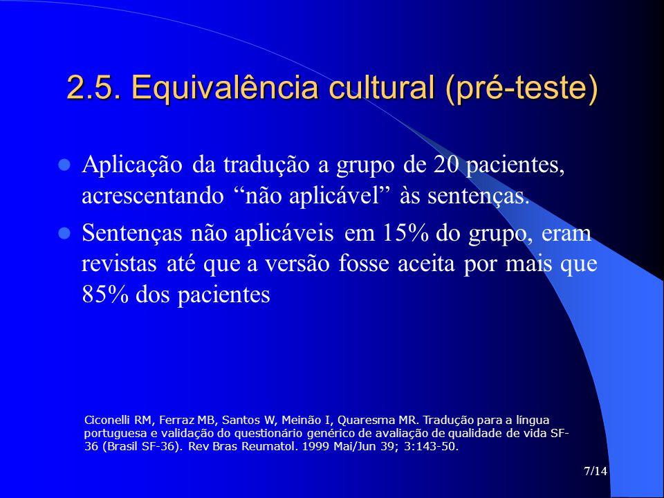 2.5. Equivalência cultural (pré-teste)