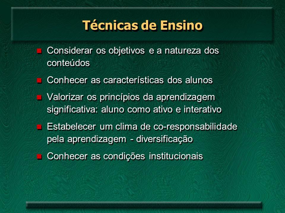 Técnicas de Ensino Considerar os objetivos e a natureza dos conteúdos