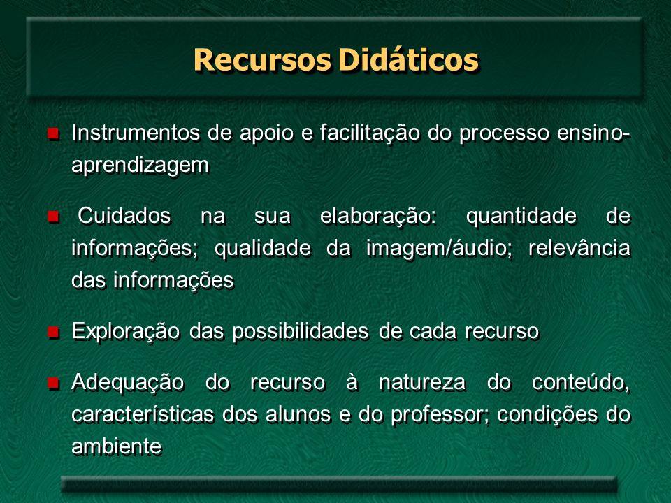Recursos Didáticos Instrumentos de apoio e facilitação do processo ensino- aprendizagem.