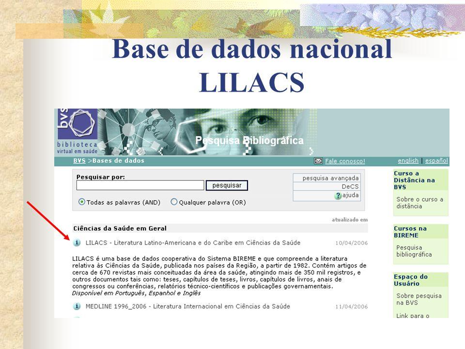 Base de dados nacional LILACS