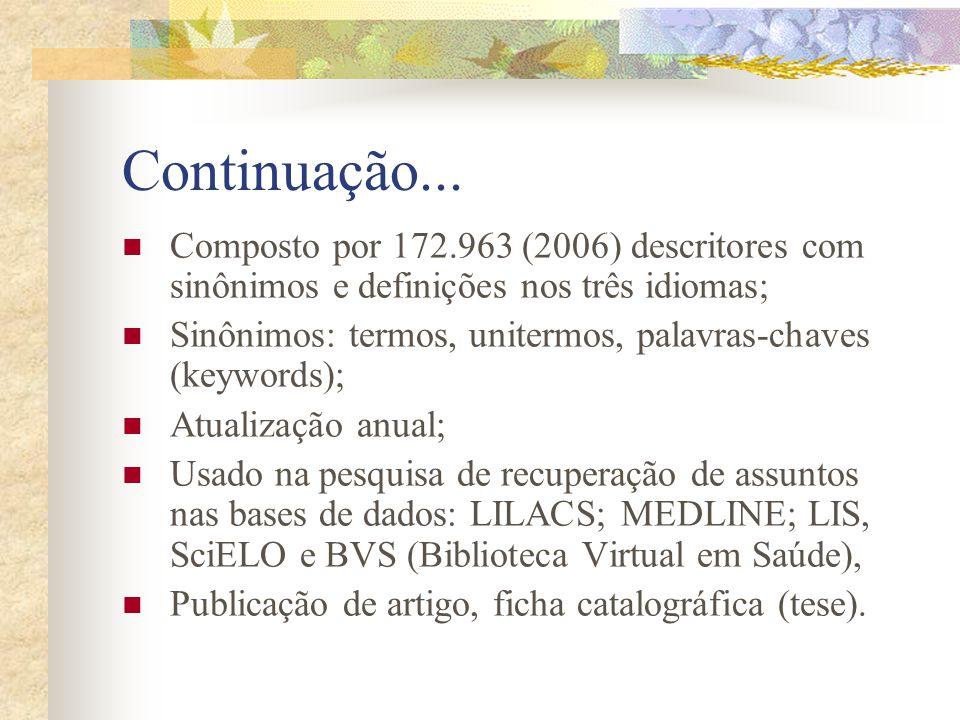Continuação... Composto por 172.963 (2006) descritores com sinônimos e definições nos três idiomas;