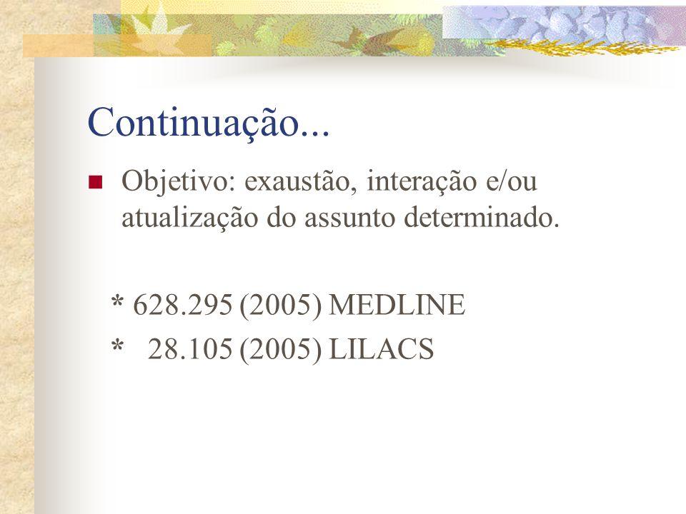 Continuação... Objetivo: exaustão, interação e/ou atualização do assunto determinado. * 628.295 (2005) MEDLINE.