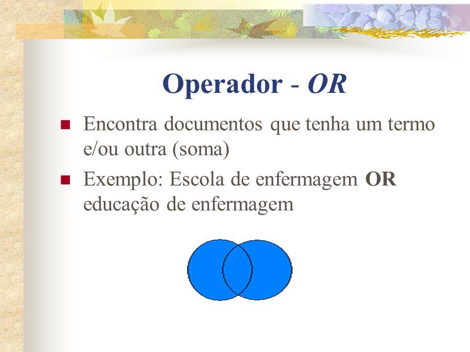 Operador - OR Encontra documentos que tenha um termo e/ou outra (soma)