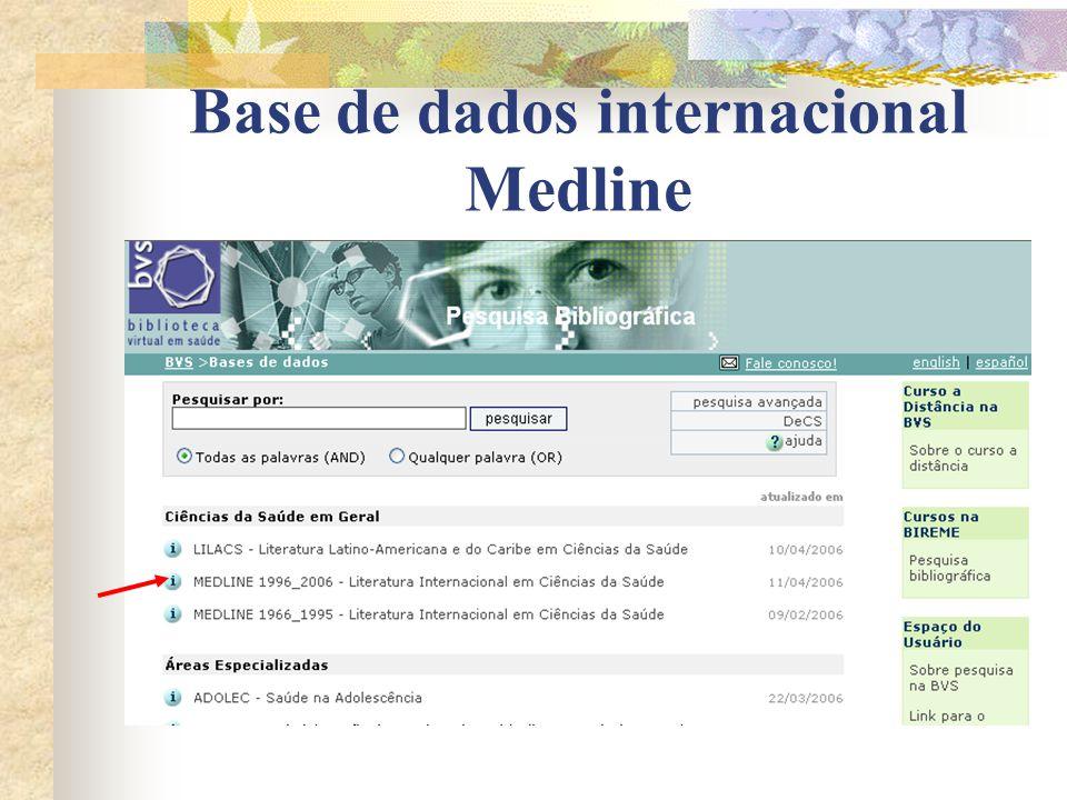Base de dados internacional Medline