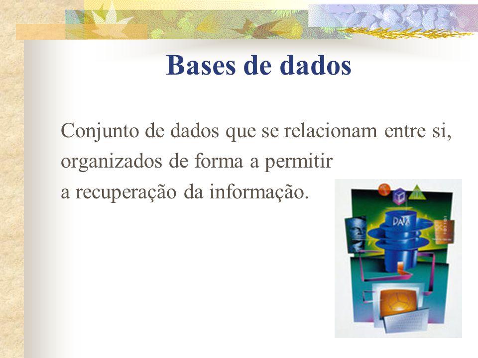 Bases de dados Conjunto de dados que se relacionam entre si,