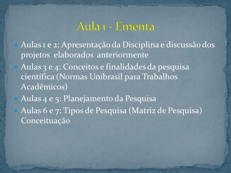 Aula 1 - Ementa Aulas 1 e 2: Apresentação da Disciplina e discussão dos projetos elaborados anteriormente.