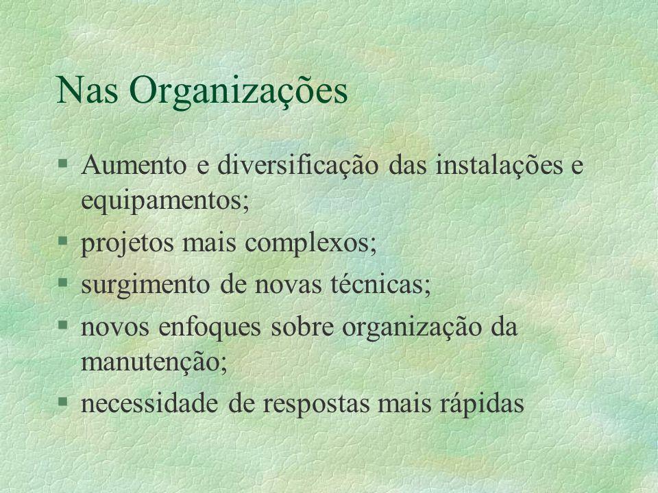 Nas Organizações Aumento e diversificação das instalações e equipamentos; projetos mais complexos;