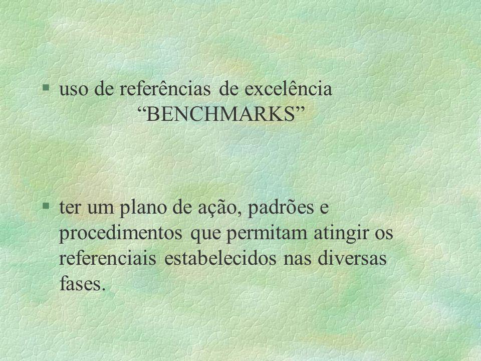 uso de referências de excelência BENCHMARKS