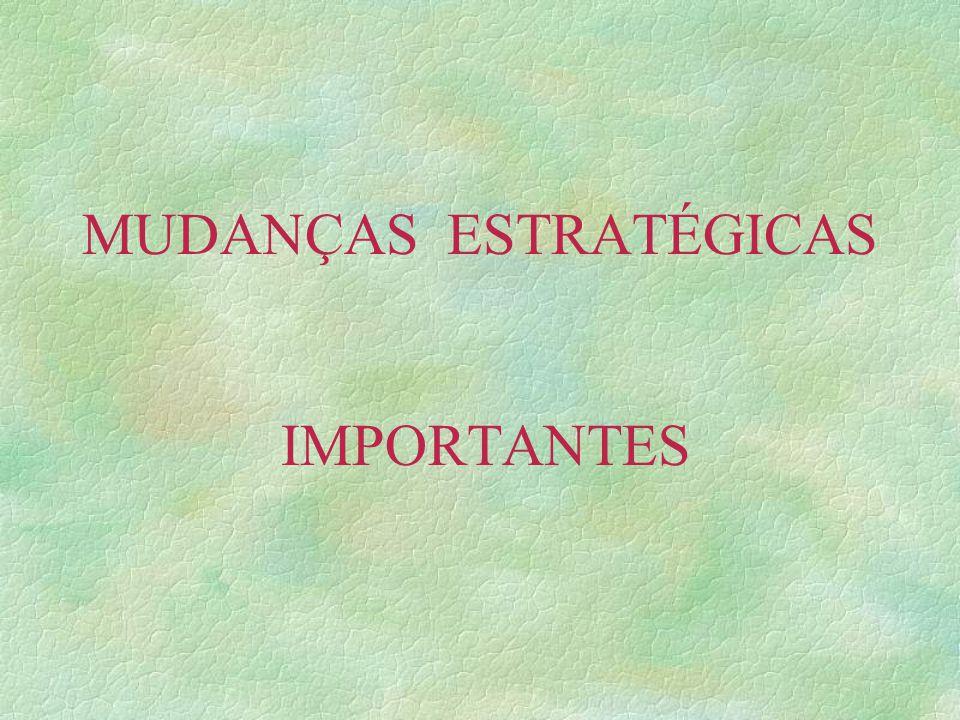 MUDANÇAS ESTRATÉGICAS IMPORTANTES