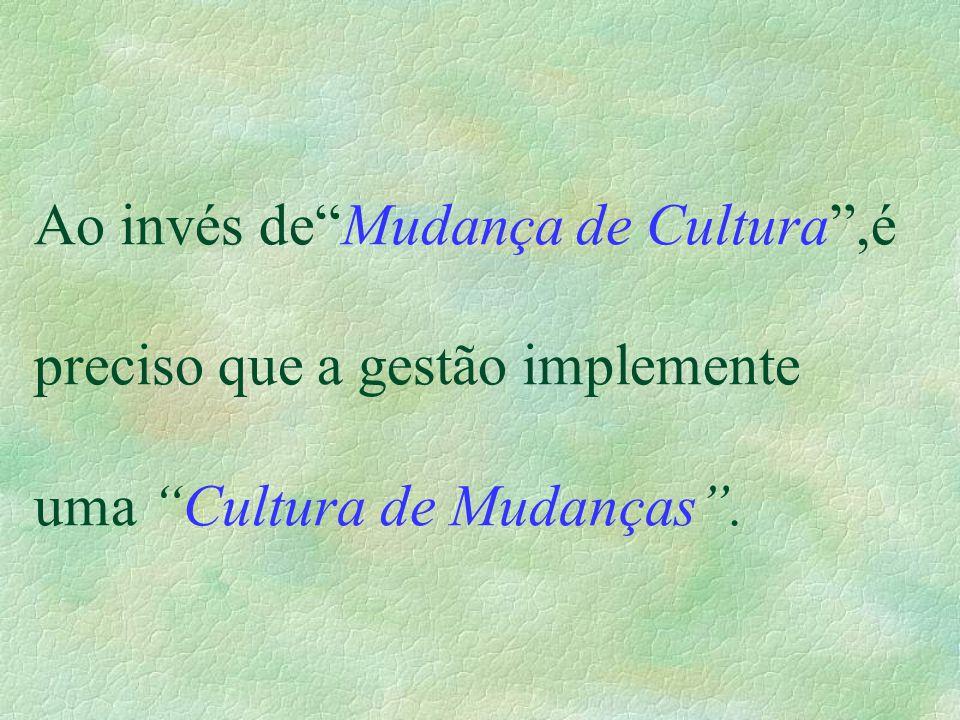 Ao invés de Mudança de Cultura ,é preciso que a gestão implemente uma Cultura de Mudanças .