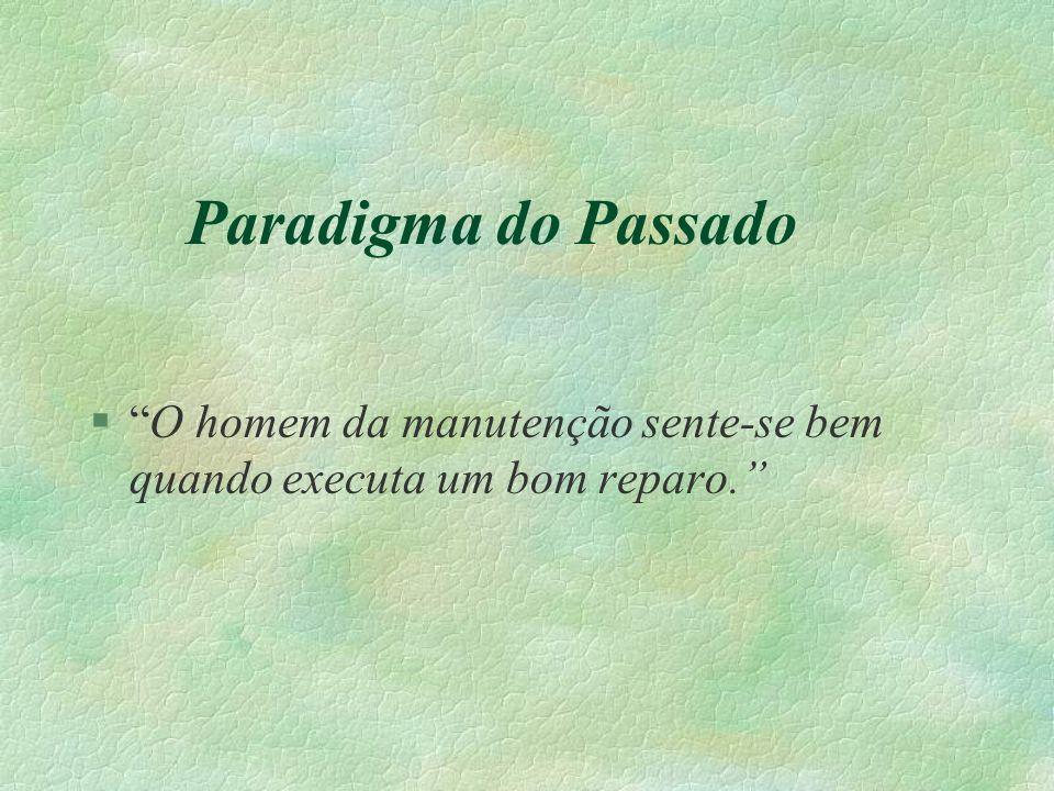 Paradigma do Passado O homem da manutenção sente-se bem quando executa um bom reparo.