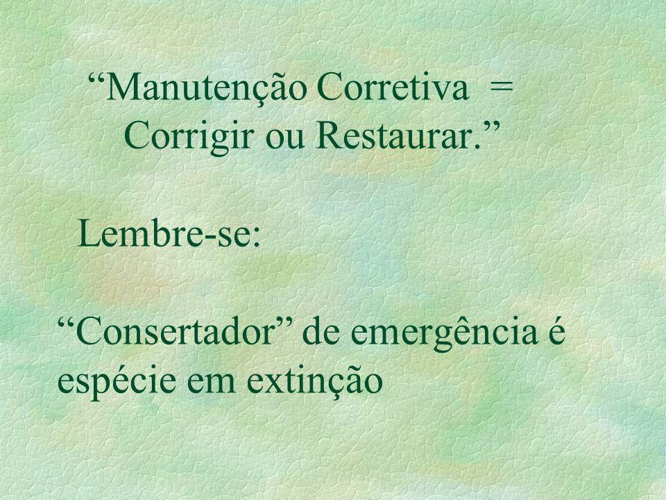 Manutenção Corretiva =. Corrigir ou Restaurar