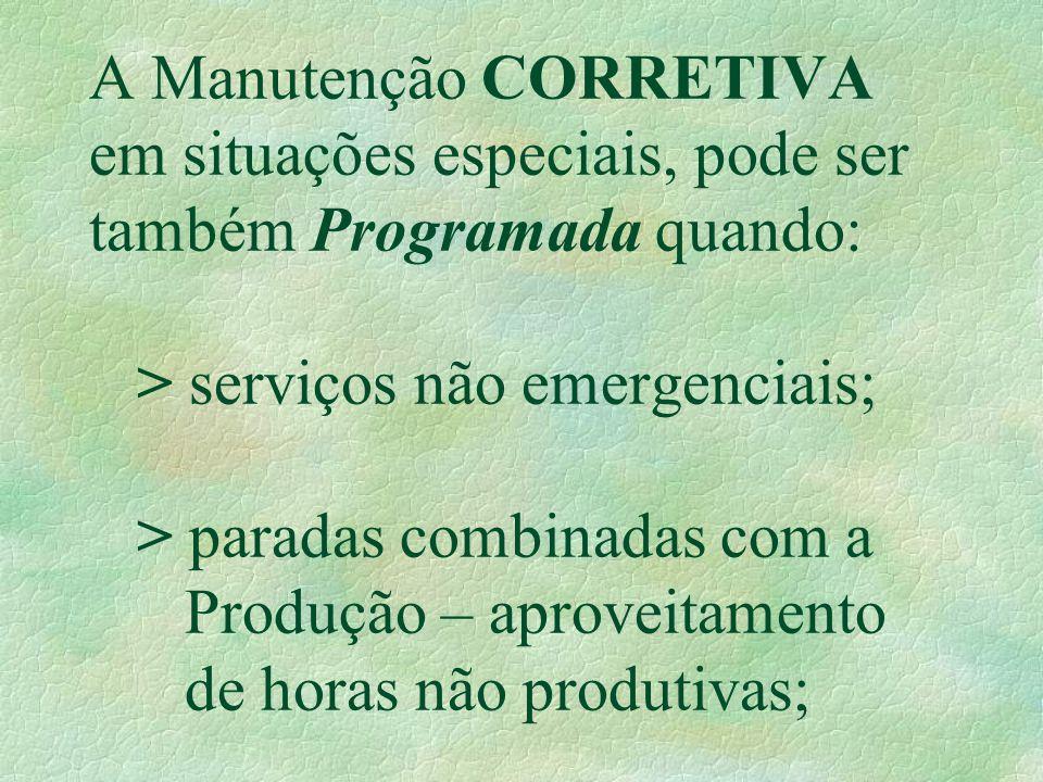 A Manutenção CORRETIVA em situações especiais, pode ser também Programada quando: > serviços não emergenciais; > paradas combinadas com a Produção – aproveitamento de horas não produtivas;