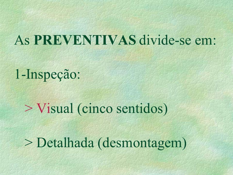 As PREVENTIVAS divide-se em: 1-Inspeção: > Visual (cinco sentidos)