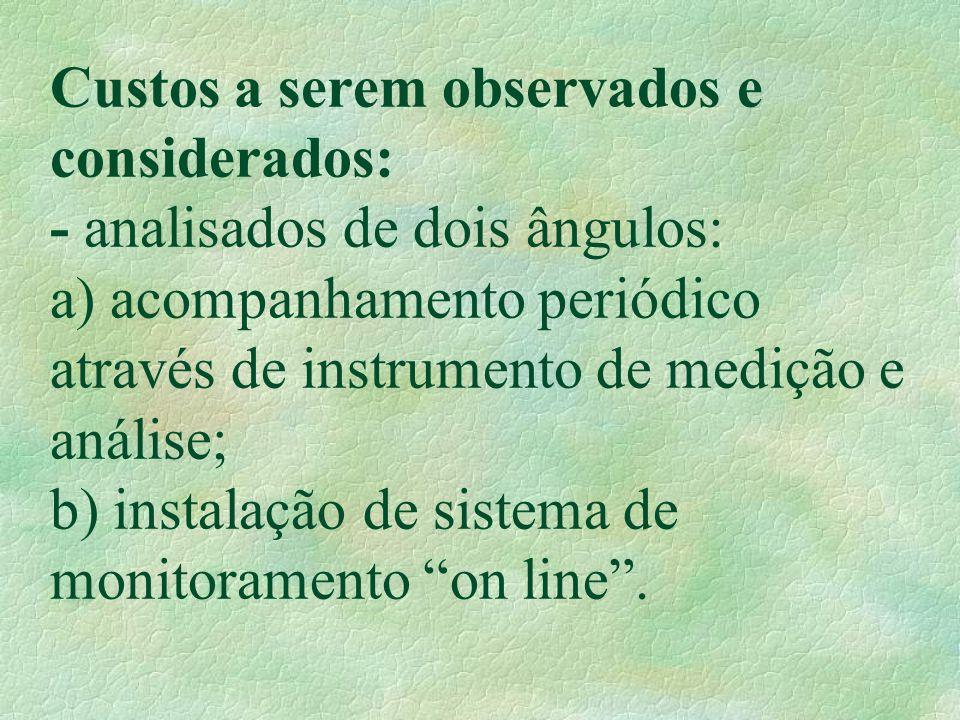Custos a serem observados e considerados: - analisados de dois ângulos: a) acompanhamento periódico através de instrumento de medição e análise; b) instalação de sistema de monitoramento on line .