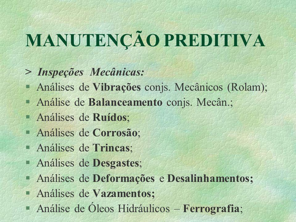 MANUTENÇÃO PREDITIVA > Inspeções Mecânicas: