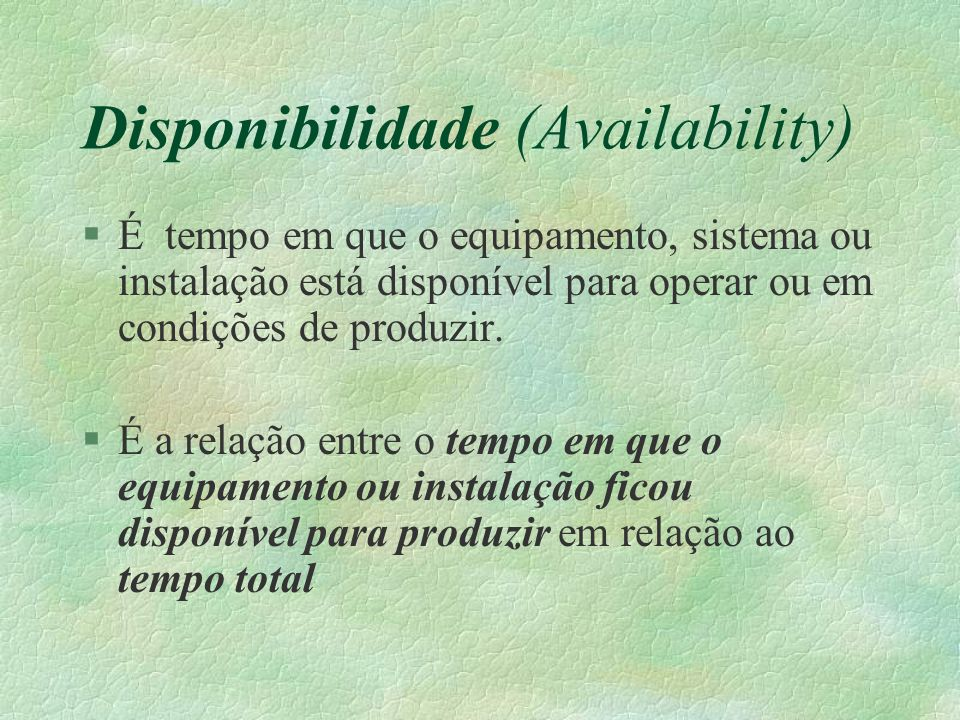 Disponibilidade (Availability)
