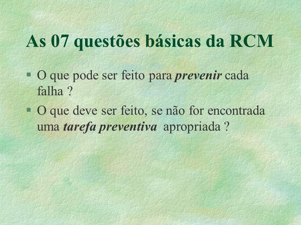 As 07 questões básicas da RCM