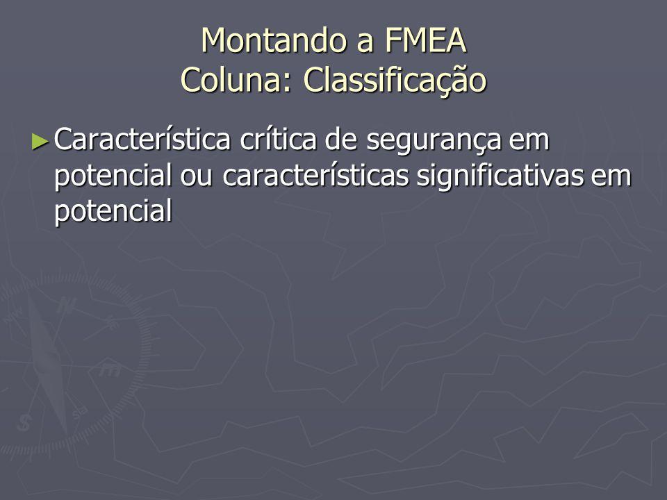 Montando a FMEA Coluna: Classificação