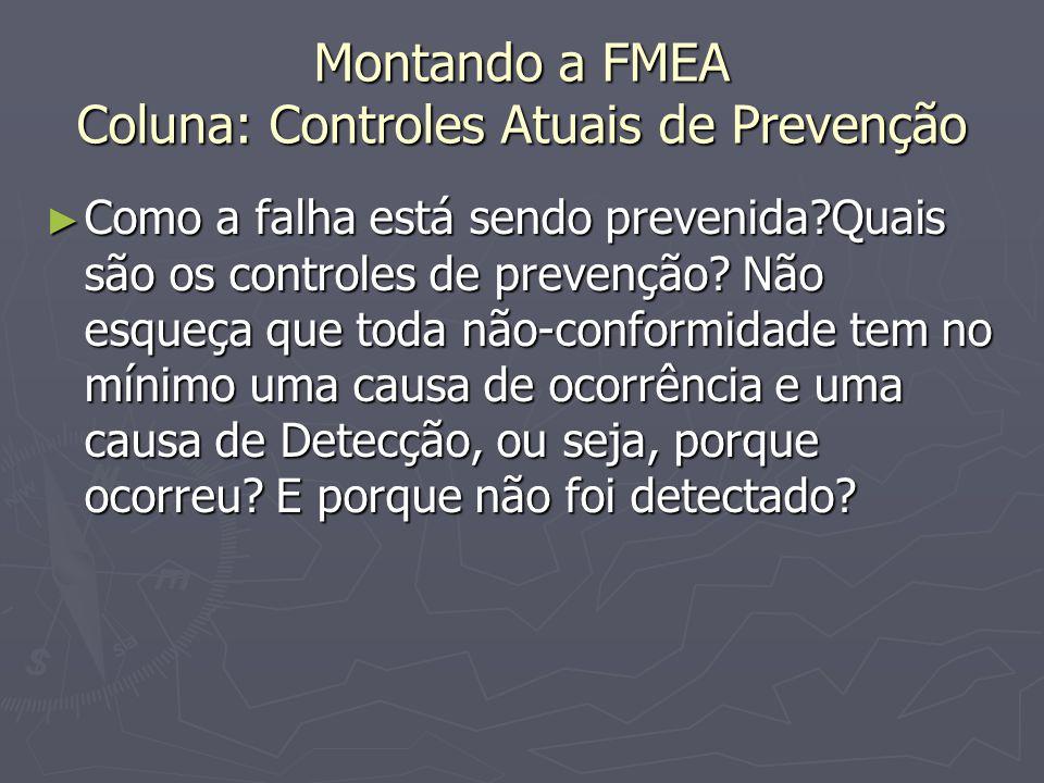 Montando a FMEA Coluna: Controles Atuais de Prevenção