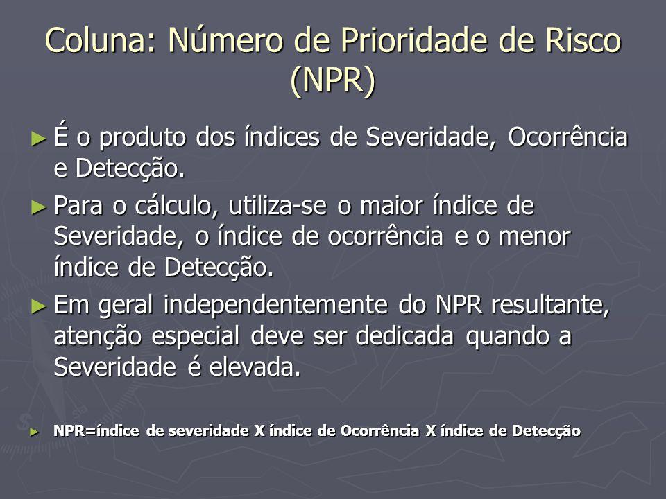 Coluna: Número de Prioridade de Risco (NPR)