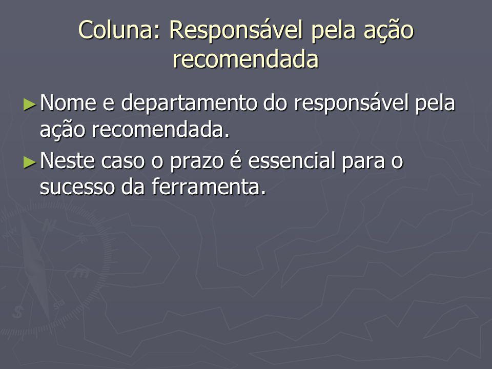 Coluna: Responsável pela ação recomendada