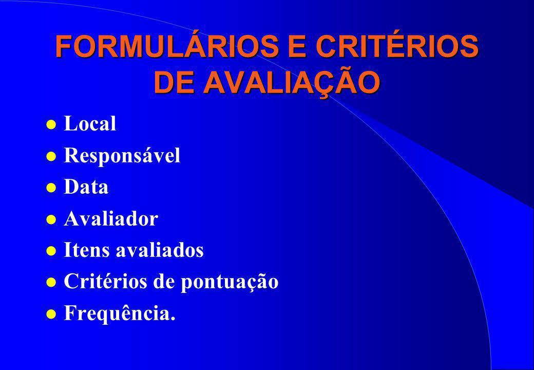 FORMULÁRIOS E CRITÉRIOS DE AVALIAÇÃO