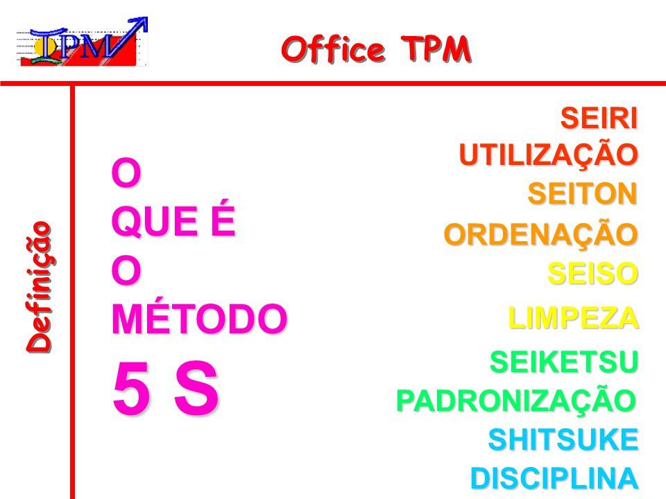 5 S O QUE É MÉTODO Office TPM SEIRI UTILIZAÇÃO SEITON ORDENAÇÃO
