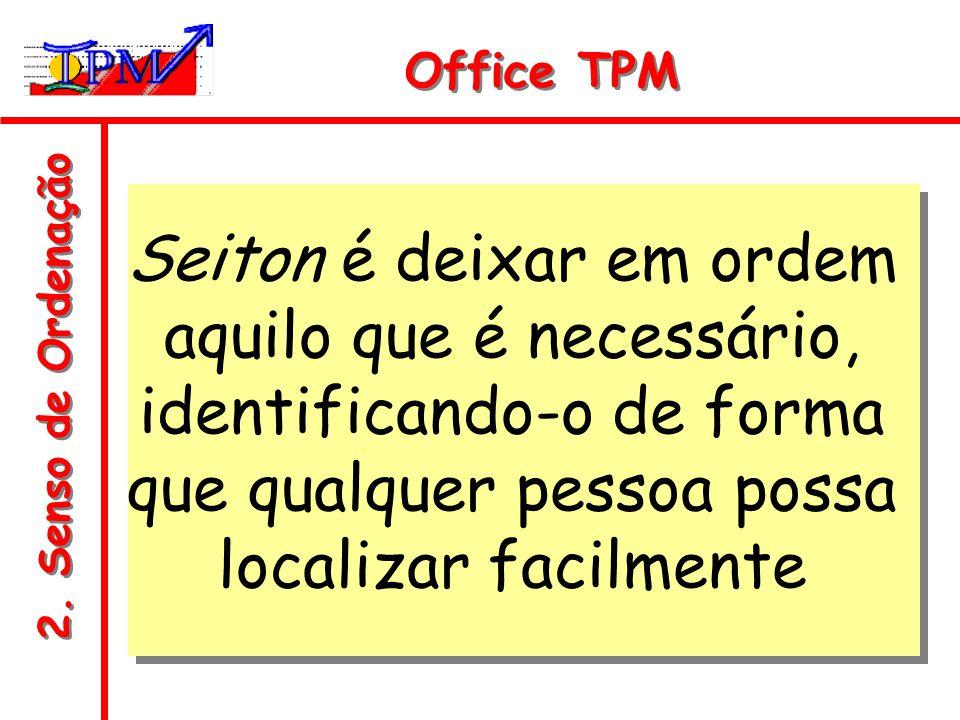 Office TPM Seiton é deixar em ordem aquilo que é necessário, identificando-o de forma que qualquer pessoa possa localizar facilmente.