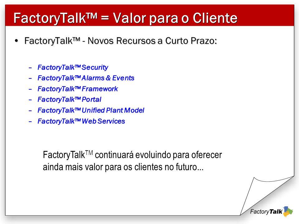FactoryTalk™ = Valor para o Cliente