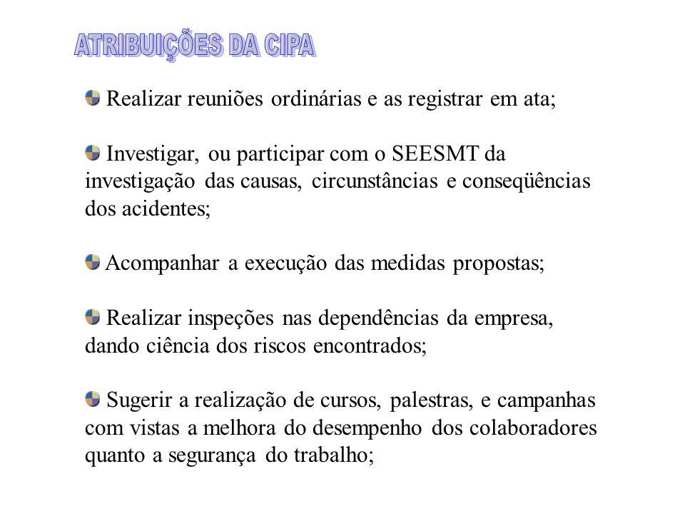 ATRIBUIÇÕES DA CIPA Realizar reuniões ordinárias e as registrar em ata;