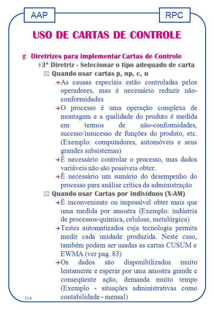 USO DE CARTAS DE CONTROLE