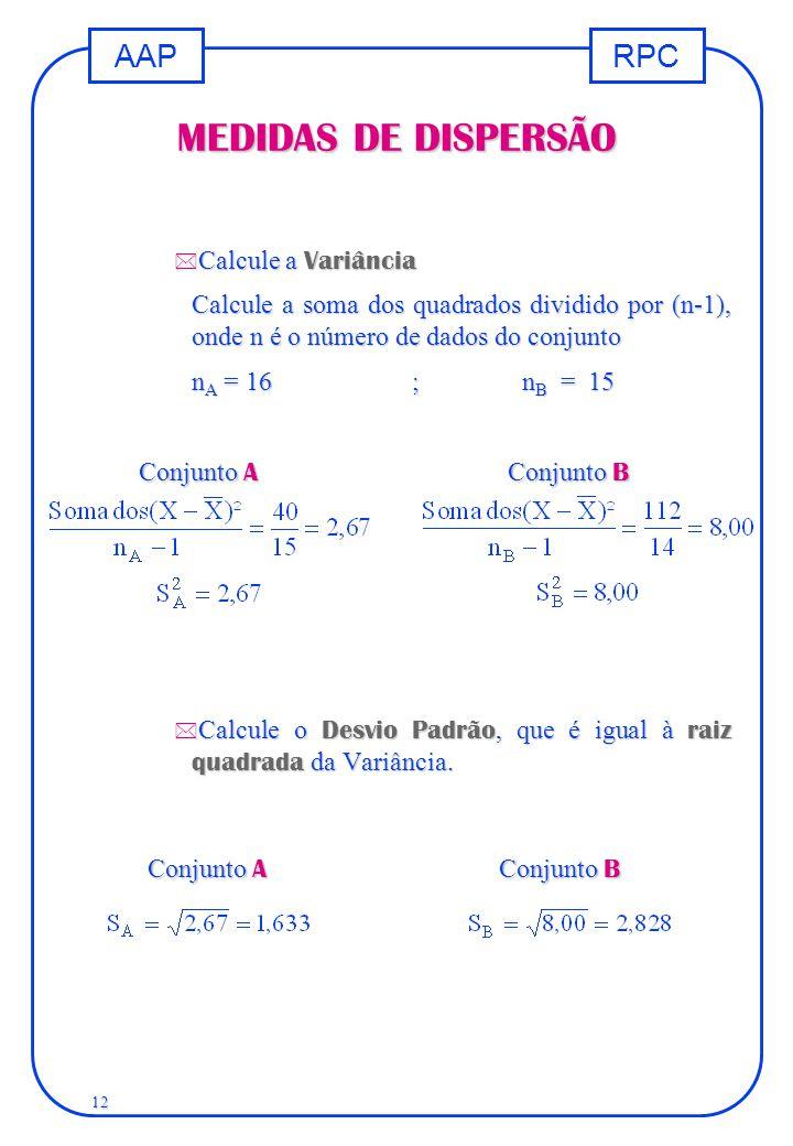 MEDIDAS DE DISPERSÃO Calcule a Variância