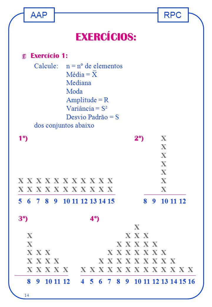 EXERCÍCIOS: Exercício 1: Calcule: n = nº de elementos Média = X