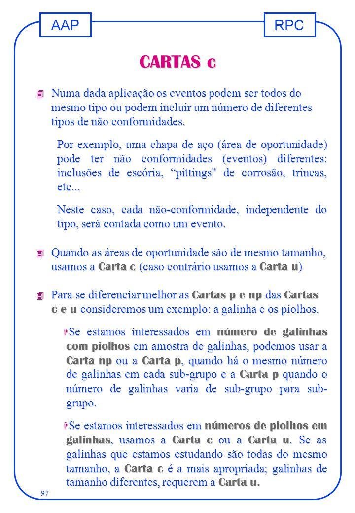 CARTAS c Numa dada aplicação os eventos podem ser todos do mesmo tipo ou podem incluir um número de diferentes tipos de não conformidades.