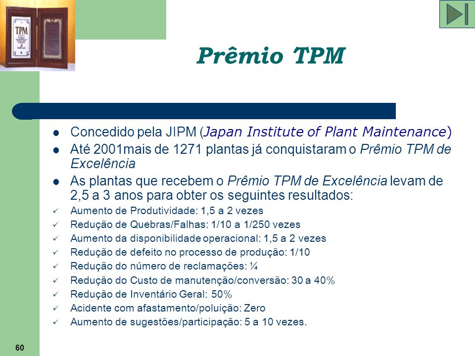 Prêmio TPM Concedido pela JIPM (Japan Institute of Plant Maintenance)