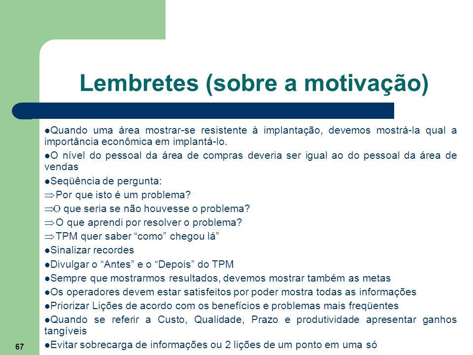 Lembretes (sobre a motivação)