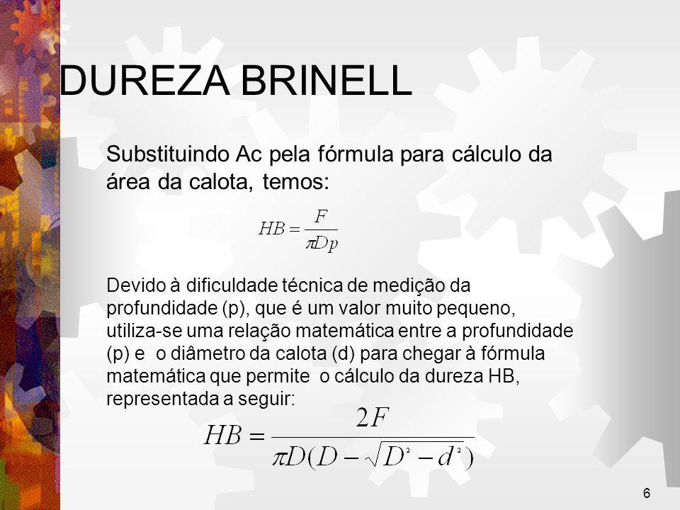 DUREZA BRINELL Substituindo Ac pela fórmula para cálculo da área da calota, temos: