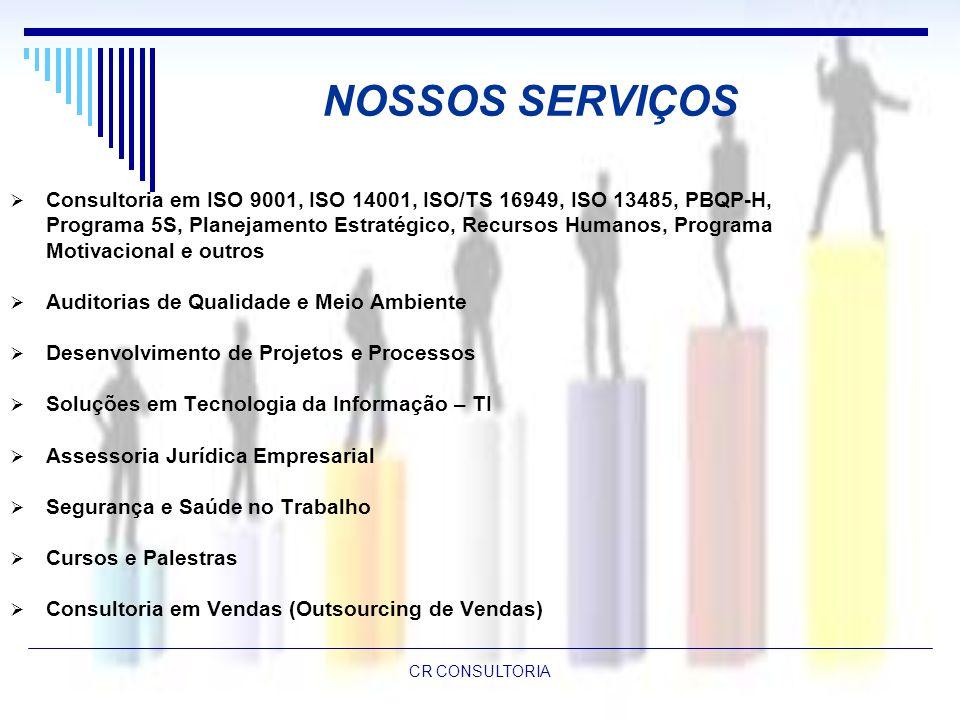 NOSSOS SERVIÇOS Consultoria em ISO 9001, ISO 14001, ISO/TS 16949, ISO 13485, PBQP-H,