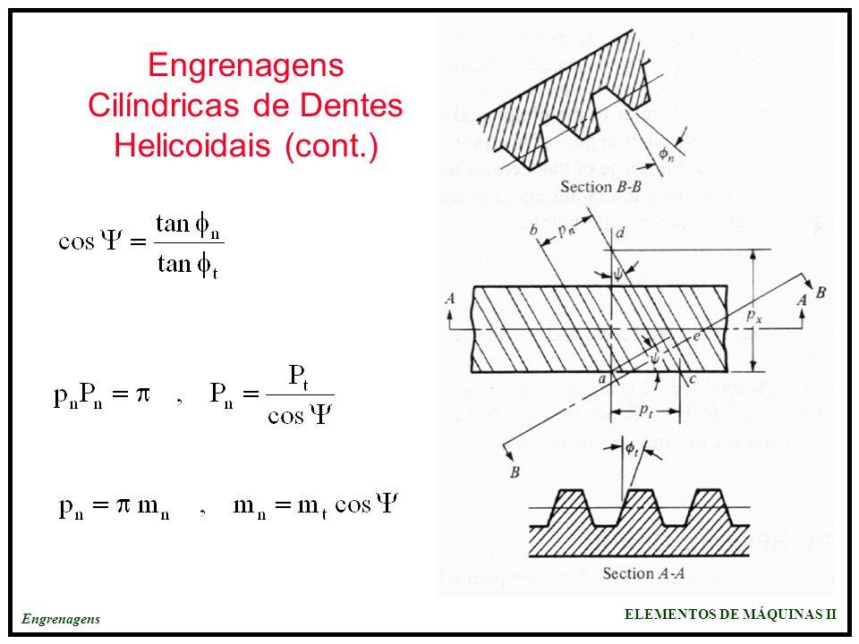 Engrenagens Cilíndricas de Dentes Helicoidais (cont.)