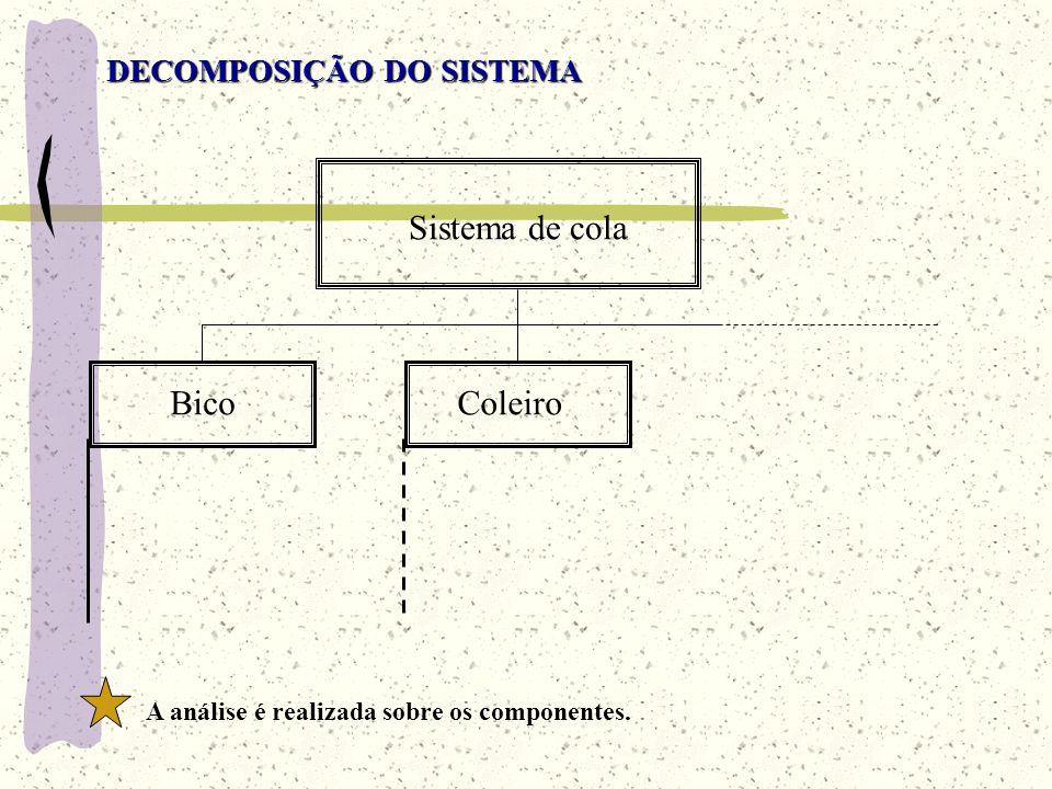 Sistema de cola Bico Coleiro DECOMPOSIÇÃO DO SISTEMA