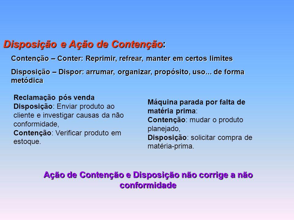 Ação de Contenção e Disposição não corrige a não conformidade