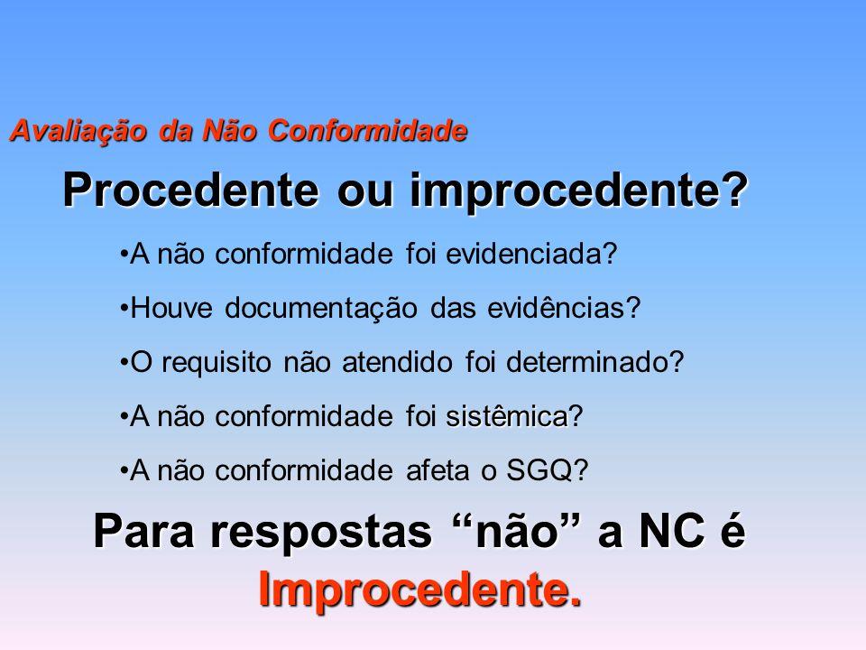 Procedente ou improcedente Para respostas não a NC é Improcedente.