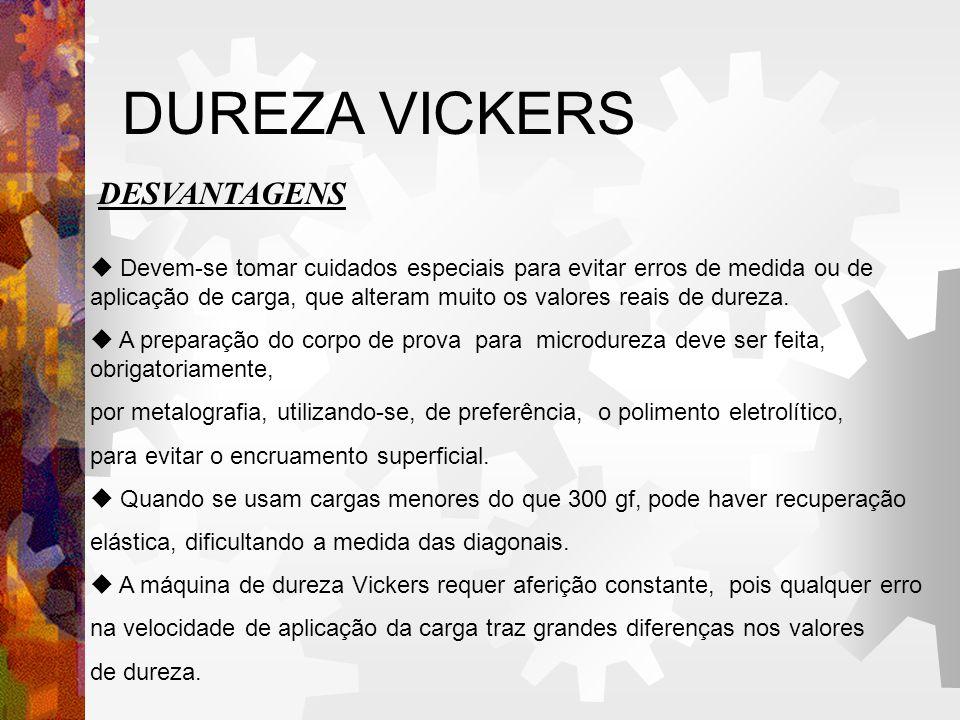 DUREZA VICKERS DESVANTAGENS