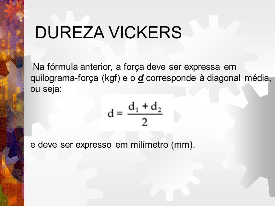 DUREZA VICKERS Na fórmula anterior, a força deve ser expressa em quilograma-força (kgf) e o d corresponde à diagonal média, ou seja: