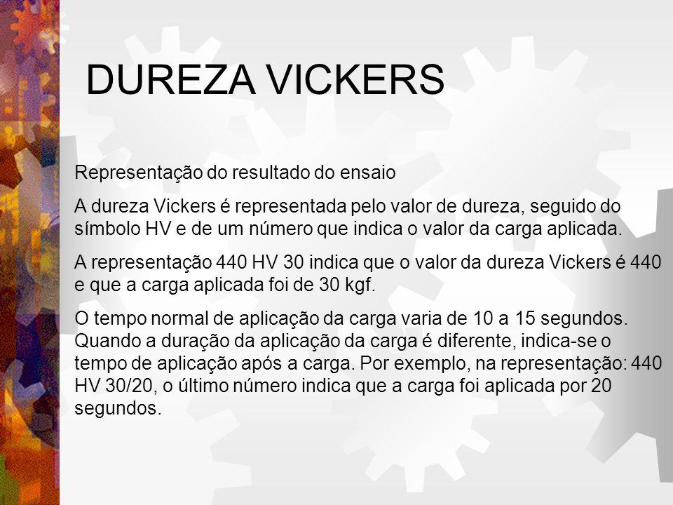 DUREZA VICKERS Representação do resultado do ensaio
