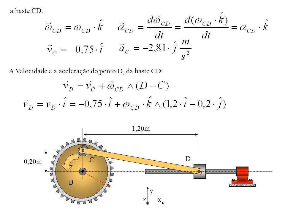 a haste CD: A Velocidade e a aceleração do ponto D, da haste CD: D C B 0,20m 1,20m x y z